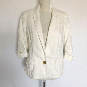 Anthro Elevenses White Blazer Jacket Pockets Sz 6